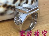 批发S925纯银镂空戒指方形戒托银托银饰定做镶嵌男戒圣剑骑士