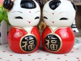 zakka杂货 陶瓷存钱罐 家居摆设 结婚情侣礼物摆件 可爱福娃