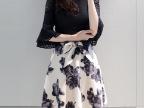 优质出口潮大码女装长袖水墨小清新裙子秋冬新款打底套装连衣裙女