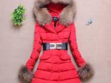厂家直销 新款女装 女式韩版大毛领修身中长款羽绒服 冬装批发