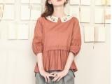 2014春季新款 日单森女系彩色小花刺绣领灯笼袖两面穿娃娃款衬衫