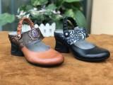 广州女鞋工厂批发新款外贸休闲真皮手工复古原创民族风女鞋
