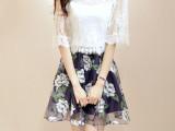 2014春夏装新款女装潮韩版蕾丝欧根纱印花两件套连衣裙女