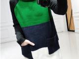 2015春装新款女装韩版中长款拼色毛衣女针织衫一件代发 N128