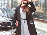 秋冬韩版休闲中长款大口袋修身毛呢外套女学