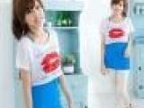 8127夏季女装短款短袖t恤女士唇印潮拼接假两件套背心女短袖t恤