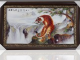 景德镇陶瓷名家手绘瓷板画仿古实木框