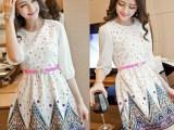 2015春装新款大码女装韩版修身雪纺裙 圆领印花中袖连衣裙