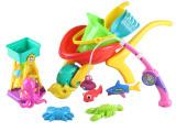 宝宝沙滩玩具超大手推车铲子沙漏钓鱼玩具磁性鱼戏水玩沙工具12件