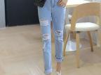 韩国实拍夏装新款修身破洞牛仔裤女韩版小脚裤九分铅笔长裤