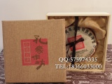 茶饼包装木盒松木茶叶礼盒子现货麻布面茶盒厂家定做