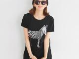 韩版女装批发 2014韩版夏季新款斑马印花中长款宽松女式T恤代发