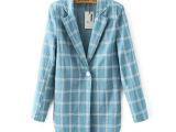 2015秋冬季新款韩版中长款纯棉格子女式修身西装 西服外套女