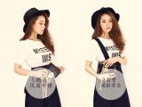 2014夏韩国雪纺修身半身长裙背带裙+背后拉链印花t恤休闲套裙