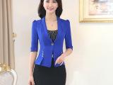 2015新款休闲西装外套 韩版短款小西服中袖修身女式OL职业装