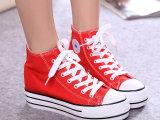 女夏季牛仔布休闲厚底松糕鞋少女增高鞋帆布鞋高帮防水台学生女鞋