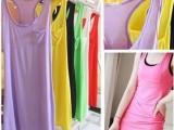 2014年新款春夏女装 莫代尔棉长款工字背心打底衫口袋 长款女t