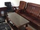 实木沙发五件套1.4米办公桌4个皮制椅