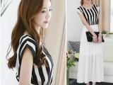 2014夏季新款 韩版圆领条纹拼接雪纺中长款松紧腰连衣裙