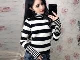 冬季韩版新款高领加厚黑白条纹针织衫女套头