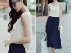 2014韩国代购夏装新款女装甜美雪纺沙滩长裙时尚背心裙连衣裙