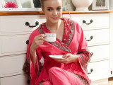 厂家直销2014秋季新款女士提花双面喇叭袖睡衣套装精美双色蕾丝边