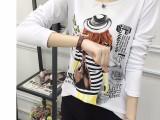 7元春季夜市地摊货源打底衫 印花圆领长袖t恤女装批发