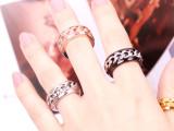 欧美夸张戒指代购 钛钢玫瑰金链条戒指 朋