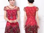 大码女装连衣裙 2015新款夏装修身显瘦刺绣镂空大印花气质连衣裙