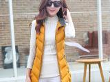 2015年冬季新款棉马甲中长款女韩版修身加厚棉马甲背心 厂家批发