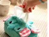 萌物 冰激凌象纸巾套 马戏团 大象卡通毛绒纸巾抽薄荷色小象