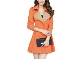 爱上莱薇 2014春装新款韩版修身女装 翻领 长袖 双排扣 品牌