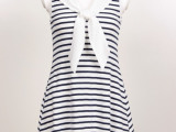(现货)2014春夏新款sn*del海军风翻领T恤裙/连衣裙TX