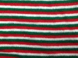 圣诞绿红白条纹毛线布料粗细针提花面料玩具公仔娃娃毛线针织布料