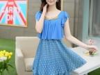2014韩版女装百褶新款连衣裙 夏季欧洲站批发雪纺短袖一件代发