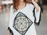 2014春夏新款大码宽松长版女款复古飞飞蝙蝠袖t恤