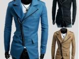 外贸EBAY热卖 新款 三口袋设计斜拉链男士修身休闲风衣