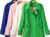 2014秋冬新款韩版时尚气质中长款双排扣毛呢大衣羊毛呢子外套