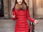 工厂直销 2013新款女装长款羽绒服女款真毛领 批发厂家 红白色