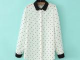 2014新款女式时尚波点拼接衬衫