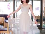 吊带背心网纱中长连衣裙2014夏季甜美纯色新款女装韩国东大门热销