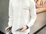 秋季男士修身长袖衬衫男式方领百搭白衬衣男
