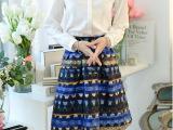 2015春装新款半身裙 韩版蓬蓬裙百搭华丽半身裙 印花中裙潮