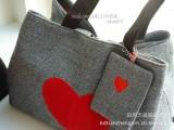 帆布包12新款红桃心帆布包 时尚百搭包 包包配有挂件包
