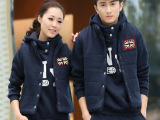 韩版新款男女三件套加绒加厚运动服 全棉情侣装休闲运动套装