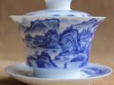 厂家直销 景德镇手工茶具 手绘精工山水盖碗 质量保证