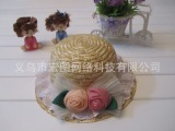 2015款韩版新款樱桃玫瑰花宝宝麦秆帽儿童草帽女童遮阳帽子孩子帽