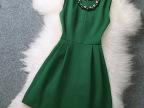 2015新款女装连衣裙 欧洲站立体装饰纯色修身显瘦打底连衣裙礼服