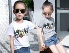 韩版淘宝网热卖纯棉卡通童装套装条纹亲子装两元童装T恤批发