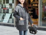 2014大码针织加绒加厚毛衣外套 品牌服装女装 免费代理加盟